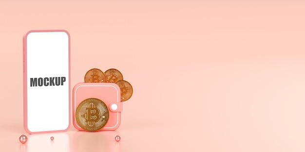 Portefeuille de crypto-monnaie bitcoin btc sur smartphone illustration 3d