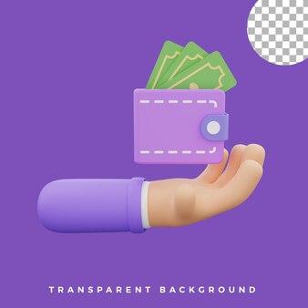 Portefeuille d'illustration de geste de la main 3d avec des actifs isolés de l'icône de dollars de haute qualité