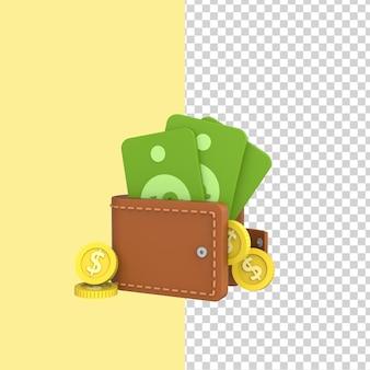 Portefeuille ouvert avec des dollars et des pièces de monnaie modèle de rendu 3d fond jaune isolé.