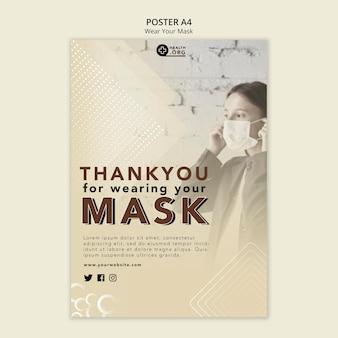 Portez un modèle d'impression d'affiche de masque