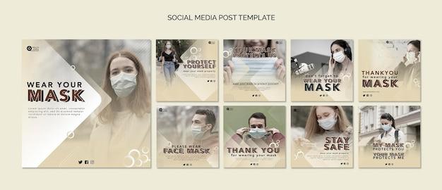 Portez un modèle de publication de masque sur les réseaux sociaux