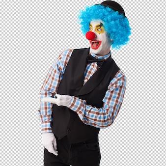 Portrait d'un clown drôle sur blanc