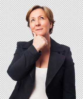 Portrait, mûrir, femme affaires, penser, quelque chose