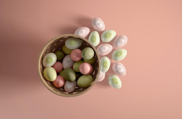 Poser des œufs peints à plat dans un bol et à côté