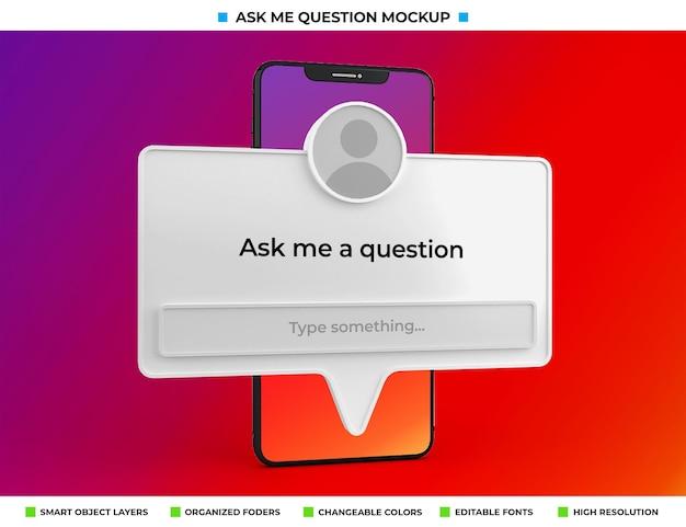 Posez-moi une question maquette de filtre instagram isolée sur l'écran du téléphone
