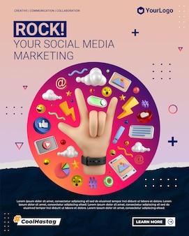 Post de portrait instagram marketing de médias sociaux avec modèle de rendu de main illustration dessin animé 3d
