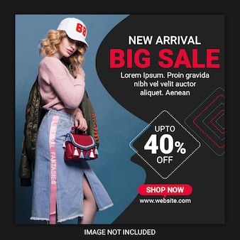 Poste instagram ou bannière carrée pour les magasins de mode