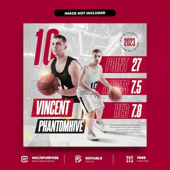 Poste instagram de joueur de tournoi de basket-ball