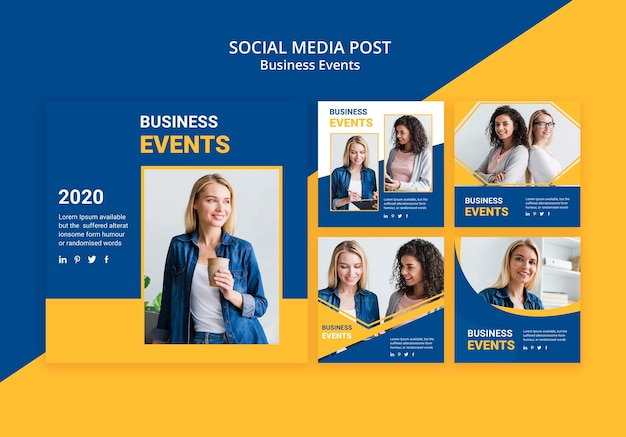 Poste de média social pour business template