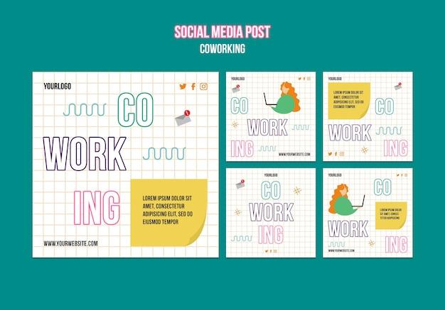 Poste sur les réseaux sociaux de concept de travail d'équipe