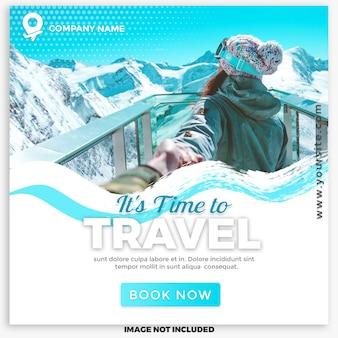 Poste de voyage sur les réseaux sociaux pour le marketing numérique