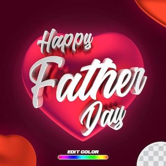 Poster une bonne fête des pères avec un coeur rouge