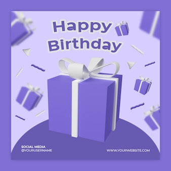 Poster instagram modèle de médias sociaux boîte cadeau anniversaire psd premium