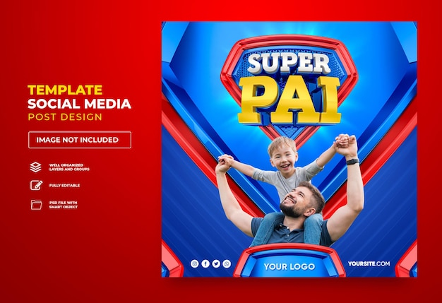 Poster super papa sur les réseaux sociaux au brésil conception de modèle de rendu 3d en portugais bonne fête des pères