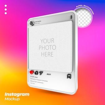 Postes flottants 3d de la maquette instagram