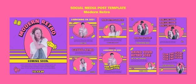 Postes de médias sociaux rétro modernes