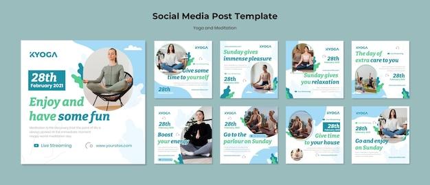 Postes sur les médias sociaux sur le yoga et la méditation