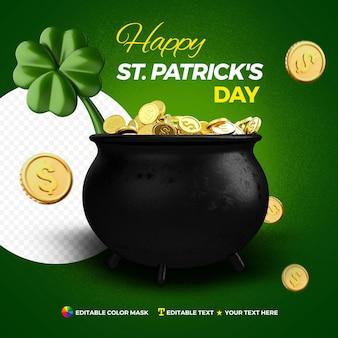 Pot 3d réaliste avec des pièces de monnaie et du trèfle saint patrick