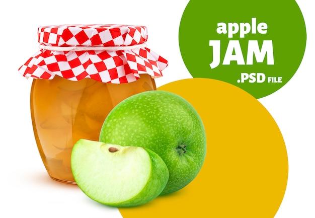Pot de confiture de fruits pomme isolé sur mur blanc