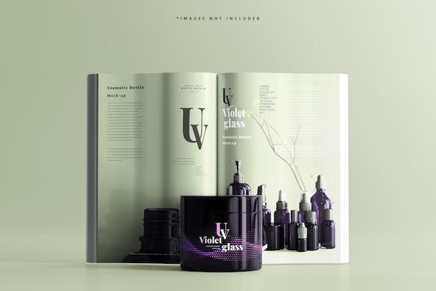 Pot cosmétique en verre uv avec maquette de magazine
