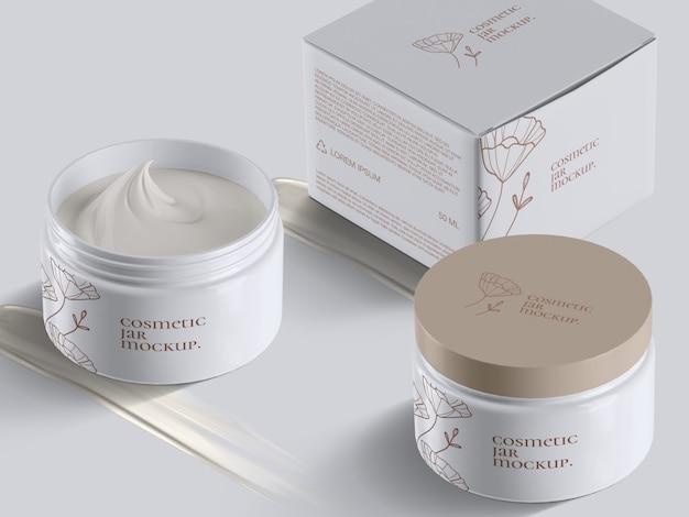 Pot à crème cosmétique en plastique ouvert et fermé à angle élevé réaliste et boîte avec modèle de maquette de traits de crème