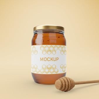 Pot avec du miel délicieux