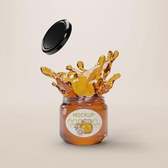 Pot avec du miel liquide