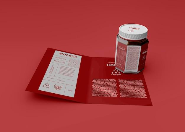 Pot de miel avec maquette de brochure