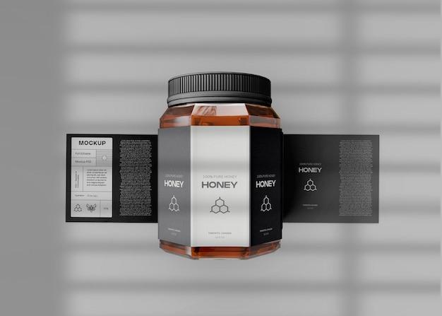 Pot de miel avec maquette d'étiquette