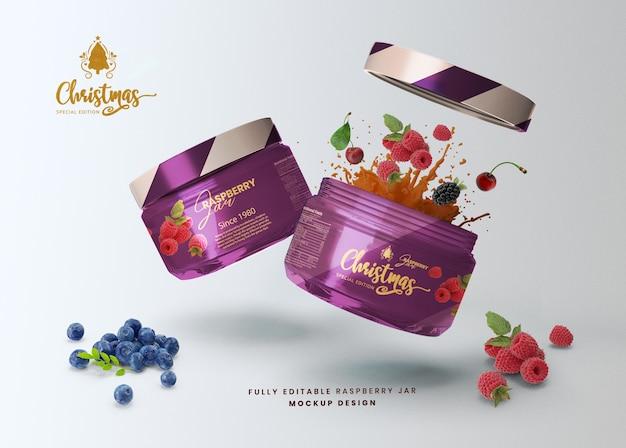 Pot de nourriture en verre de miel de maquette 3d ouvert pour la présentation du produit
