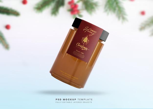 Pot de nourriture en verre de miel de maquette 3d pour la présentation du produit