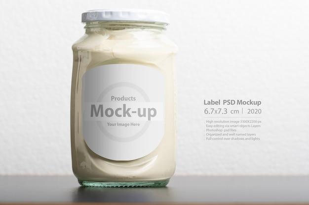 Pot en verre de lactosérum avec bouchon rond