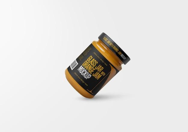Pot En Verre Avec Maquette De Confiture Orange Isolée PSD Premium