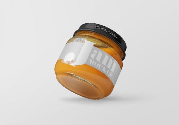 Pot en verre avec maquette de confiture de pêche