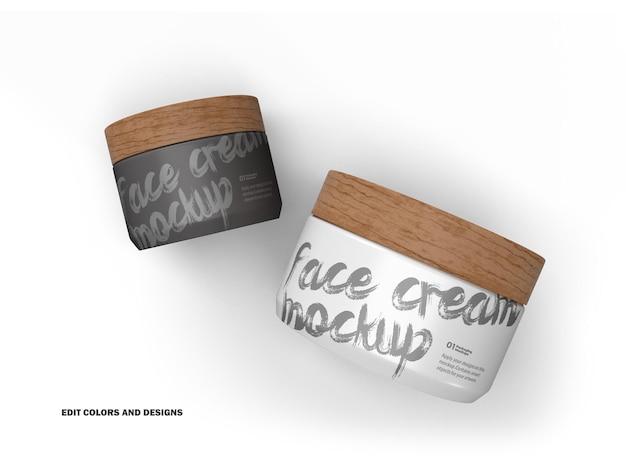 Pots de crème 3d avec bouchons en bois