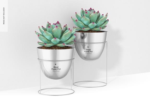 Pots de fleurs ovales avec maquette de support