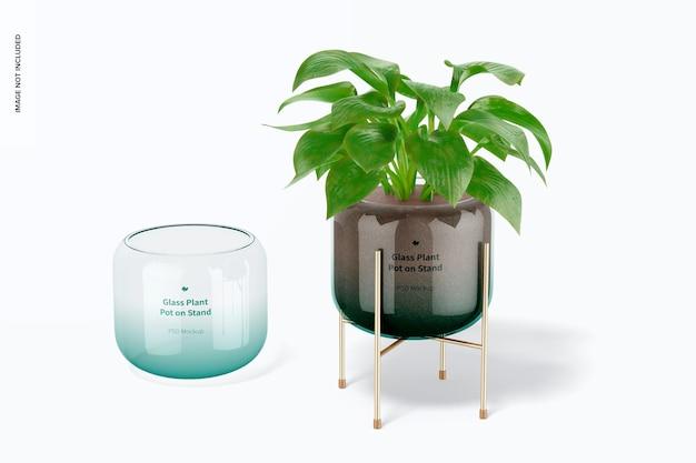 Pots de plantes en verre sur une maquette de support