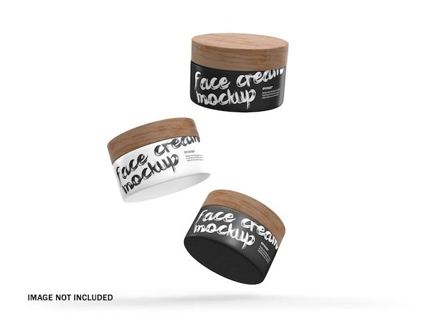 Pots en plastique 3d avec couvercles en bois maquette psd de produit cosmétique