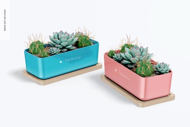 Pots rectangulaires avec maquette de plateau en bambou