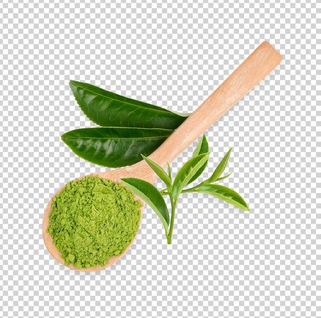 Poudre de matcha verte dans une cuillère isolée psd premium