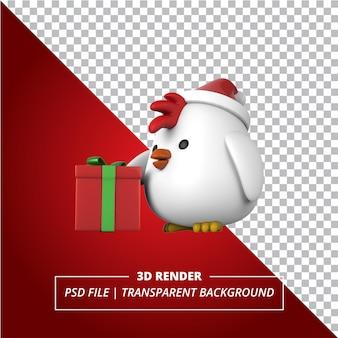 Poussin 3d avec une boîte-cadeau rendu sur fond transparent