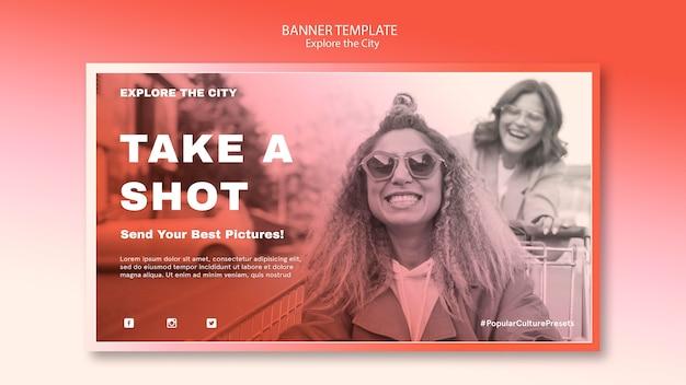 Prenez une photo et explorez le modèle de bannière de la ville