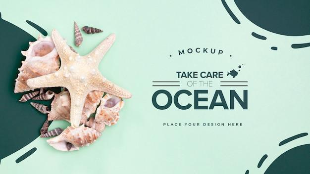 Prenez soin de l'océan avec copie espace