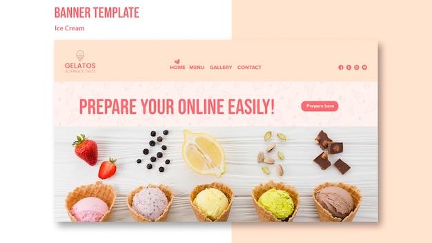 Préparez votre modèle de bannière de crème glacée en ligne