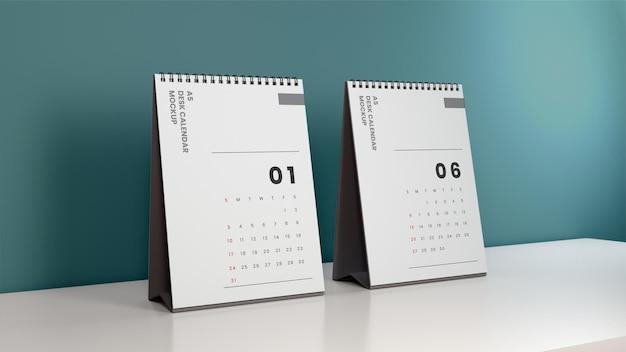 Présentation de maquette de calendrier de bureau réaliste