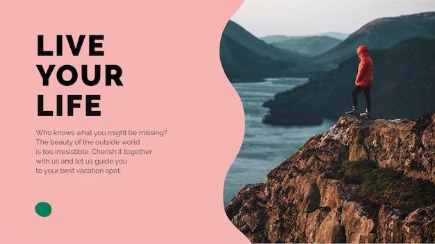 Présentation psd du modèle de marketing de montagne de voyage pour les agences