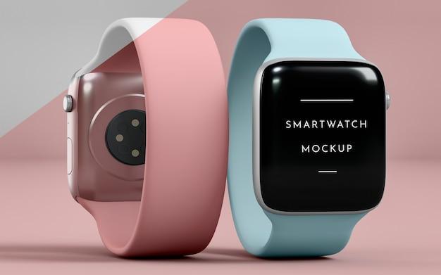 Présentation des smartwatches avant et arrière avec maquette d'écran