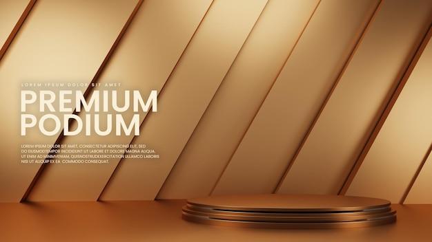 Présentoir de produits géométrique de luxe en or