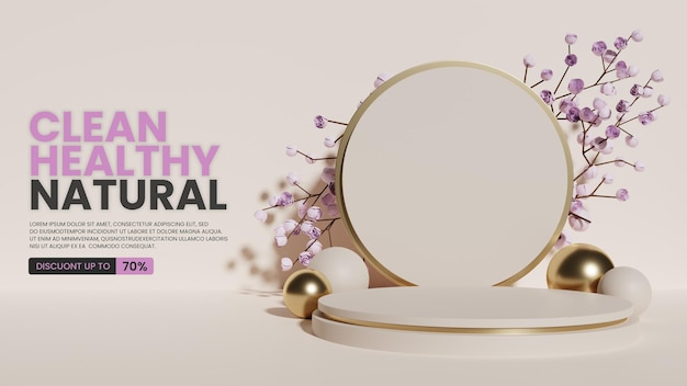 Présentoir de produits de podium de luxe minimaliste naturel avec des roses