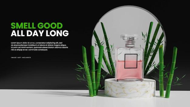 Présentoir de produits de podium en marbre 3d avec bambou
